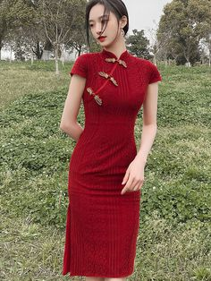 Shop 2021 Burgundy Lace Modern Qi Pao Cheongsam Wedding Dress at imallure.com. A wide collection of high quality qipao & cheongsam in various style. New arrivals daily. FREE INTERNATIONAL SHIPPING. Cheongsam Modern, Cheongsam Wedding, Hanfu, Mandarin Collar, Lace Overlay, Half Sleeves, Lace Dress, Burgundy, Short Sleeve Dresses