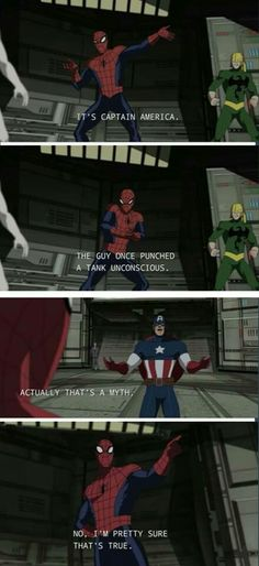 Marvel's Ultimate Spider-Man: Spider-Man/Peter Parker and Captain America/Steve Rogers Marvel Dc Comics, Marvel Funny, Marvel Memes, Marvel Avengers, Ms Marvel, Captain Marvel, Marvel Films, Avengers Memes, Ultimate Spider Man
