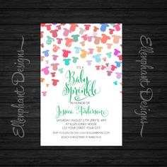 Baby sprinkle invitation, baby shower, Unisex, showering baby clothes, onesies, colorful, green, custom invite, digital file, you print by ellenphant on Etsy https://www.etsy.com/listing/164996397/baby-sprinkle-invitation-baby-shower