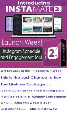 Instamate is software that brings to INSTAGRAM the ability to find, edit, upload, schedule, engage  monetize the most viral content to your Instagram accounts on complete autopilot. This is the Launch Week of Version 2. Your one and only chance to get it for a lifetime price... this will go to a monthly subscription after this launch week is over. Get in early as the price rises every day till then!