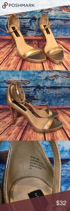 Steven by Steve Madden Kykie Heels Clubwear STEVEN BY STEVE MADDEN WOMENS SZ 8 M GOLD KYKIE LEATHER STRAPPY SANDAL HEELS EUC  Each shoe has been examined and is in excellent gently used condition. The known faults are called out below in the Areas of Wear section. Please review all pictures and assess each shoe for yourself before purchasing.   Areas of Wear  Please view all pictures before making a purchase  minor scuffing from storage. I don't believe these shoes have ever been worn…