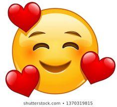 Vektor: Smiling emoticon with 3 hearts emoji wallpaper heart Smiley Emoji, Kiss Emoji, Love Smiley, Emoji Love, Cute Emoji, Images Emoji, Emoji Pictures, Funny Emoji Faces, Emoticon Faces