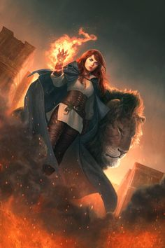 DailyInspiration - by Jason Chan  ( concepts / concept / art / characters / character / digital / games / game / fantasy / armor / leather armour / corset / red hair / mage / sorceress / female / castle / lion / creature / blue cape / wizard / fire / flames / power / magic / illustration / illustrative / splash art / design / human / )