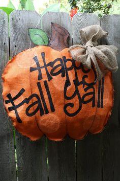 Burlap door hanging – Happy Fall Y'all – Door hanger Burlap Door Hangings, Burlap Art, Painting Burlap, Burlap Crafts, Burlap Wreaths, Burlap Signs, Tole Painting, Door Wreaths, Fall Crafts