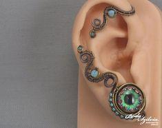 evil eye ear wrap eye jewelry wire wrapped ear cuff cosplay jewerly gift for her teal eye ear cuff cosplay ear cuff