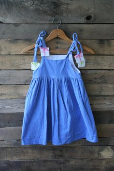 Vintage Blue Corduroy Dress with Presents by Funtasia by vintapod