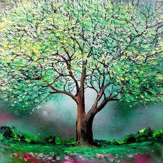 Landscape painting mixed media spring tree art by Aja - Story of the Tree 75 20x20 inches