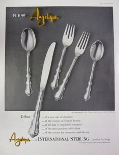 1959 International Sterling Angelique Silverware Vintage Advertisement by RelicEclectic, $8.00