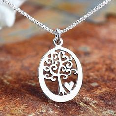 925 Sterling Silver Tree of Life Pendant Necklace Love Life Handcraft Jewelry #PendantNecklace