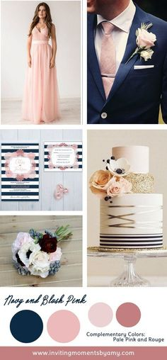 Navy blue is a timeless color to choose to use for your wedding day. I recommend pairing it with a lighter hue like blush pink to balance it out. Navyblue is also considered a neutral. It's a great way to add a touch of color without feeling overwhelmed. Likeblack, navycarries a sense of elegance.  Incorporating navy and blush would be a pretty easy task. Look how lovely this blush bridesmaid dress by Diorisslooks next to this striking blue suit. Then adding some accessories in ...