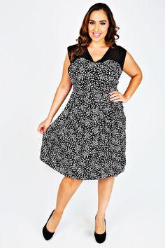 Black & White Feather Print Dress With Sheer Yoke