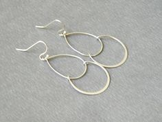 Silver finish matte double Chandelier everyday simple Earrings