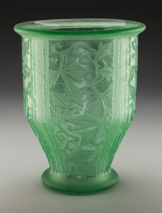 Daum Acid-Etched Art Deco Green Glass Vase. Circa 1935.
