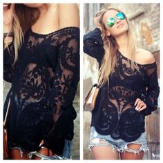 Lace Top H&M Lace 3/4 Sleeve Top!   worn twice, in great condition!  LIKE the main photo but a tighter fit, unable to wear off the shoulder.  runs true to size, won't be oversized  pls make all offers via the offer button!  no trades, PP or Mercari  H&M Tops