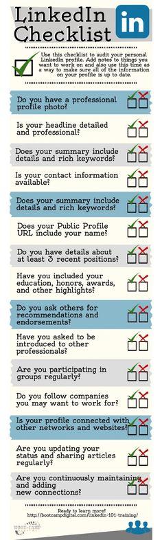 The LinkedIn Checklist, by bootcampdigital.com