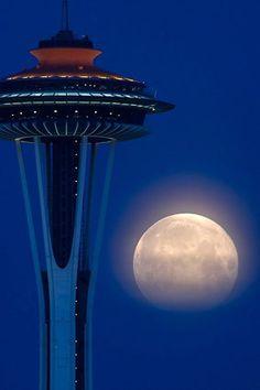 Super moon celebrates the 50th anniversary of the Space Needle.  Yoshiki Nakamura.