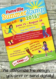 Summer Community Camp ~ Kids Camp ~ Children's Day Camp ~ 5x7 Invite ~ 8.5x11 Flyer ~ 11x14 Poster ~ 300 dpi Digital Invitation by DitDitDigital on Etsy
