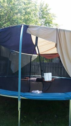 Great tent for outdoors, made for a trampoline. Sew four king size sheets together, with a hook in the middle to hang a light and clothes pins around the outside to help hold on. Great for sleepovers and camp outs. Enjoy