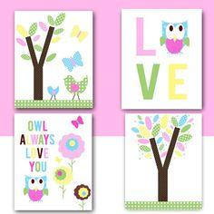 OWL Nursery Wall ART - Girl Kids Room Art - INSTANT DOWNload - Tree Bird Butterfly - Hayley - Love -for Kid's room  Printable on Etsy, $16.95