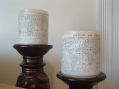 Maptastic Candle Wraps plus an announcement! ~ * THE COUNTRY CHIC COTTAGE (DIY, Home Decor, Crafts, Farmhouse)