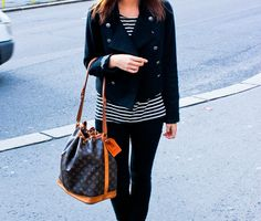 louis vuitton bag Street Style stripes