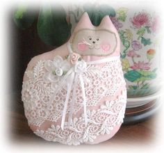 Cat Doll Cat Pillow Cloth Doll 7 inch FANCY by CharlotteStyle, $14.00