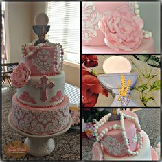 First Communion cake and a closeup of the  details of the cake. This cake  was created for my daughter Lillie on her special day.