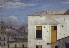 A student of Wilson, Thomas Jones (1742-1803) ranged from the classical to the dramatic baroque, to studies of buildings- a delight in observation for its own sake- that are strikingly modern for a late 18th century artist. Buildings in Naples is a tiny painting and A Wall in Naples the smallest in The National Gallery, London.