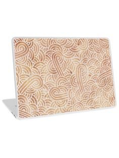 """""""Iced coffee and white zentangles"""" Laptop Skins by Savousepate on Redbubble #laptopskin #abstract #zentangles #doodles #scrolls #spirals #brown #chocolate #icedcoffee #pantonecolors2016"""