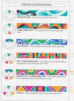 Just filled in a colour schemes chart tonight for my new Year tomorrow. Those of you who are experienced artists probably know all abou. Elements And Principles, Elements Of Art, Middle School Art, Art School, Color Terciario, Art Handouts, Art Worksheets, Art Curriculum, School Art Projects
