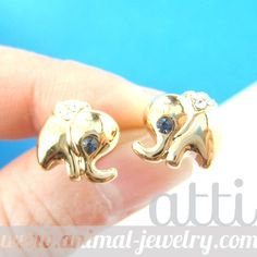Cute and Small Elephant Animal Stud Earrings in Gold with Rhinestones from Dotoly Love $6.99 #elephants #animals #jewelry #earrings #cute