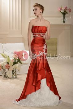 Elegant Trumpet/Mermaid and Lace Hot Sell Strapless Wedding Dress