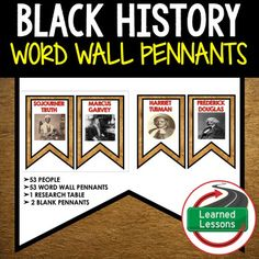 Famous African American Word Wall (Black History Month) 53 Word Wall PennantsVISIT MY STORE AND FOLLOW TO GET UPDATES WHEN NEW RESOURCES ARE ADDED Includes 53 Word Wal pennants of famous African Americans.  The pennants will make excellent classroom decorations, bulletin board displays, or Black History program displays.