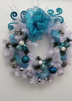 Christmas Wreath, Holiday Wreath, Front Door Wreath, Porch Wreath, Blue and White Wreath, Holiday Decor, Christmas Decor, Winter Wreath by MnMadeWreathsNThings on Etsy