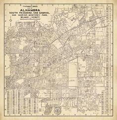 Old city plan restored, archival reproduction. Vintage Wall Art, Vintage World Maps, Alhambra California, Monterey Park, San Gabriel, Wall Maps, City Photo, Fine Art, Canon