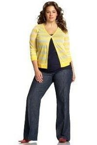 Another great outfit!  The vertical neck amp; open shirt create great sense of elongation.  love the yellow too.  Old Navy Plus Size Clothing Clothes to Covet | Big Fashion Show plus size clothing