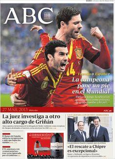 Los Titulares y Portadas de Noticias Destacadas Españolas del 27 de Marzo de 2013 del Diario ABC ¿Que le parecio esta Portada de este Diario Español?