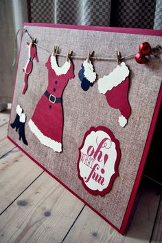 Claus is hanging out her laundry :) Christmas Cards 2017, Christmas Scrapbook, Xmas Cards, Handmade Christmas, Christmas Crafts, Winter Karten, Santa Decorations, 3d Paper Crafts, Diy Weihnachten