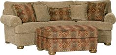 Mayo Sofa & Cocktail Ottoman with brass accents.