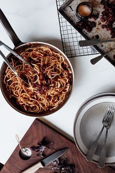 Fire Roasted Tomato Weeknight Spaghetti - Christiann Koepke