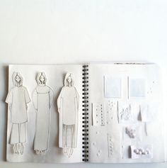 Fashion Sketchbook layout inspiration - white on white; minimal fashion // By Maria of Vanillascented : Fashion Sketchbook layout inspiration - white on white; minimal fashion // By Maria of Vanillascented Sketchbook Layout, Textiles Sketchbook, Fashion Design Sketchbook, Fashion Design Portfolio, Fashion Illustration Sketches, Illustration Mode, Sketchbook Inspiration, Fashion Sketches, Layout Inspiration