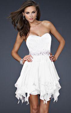 La Femme 17544 White Short Dress With Sequins Embellishment