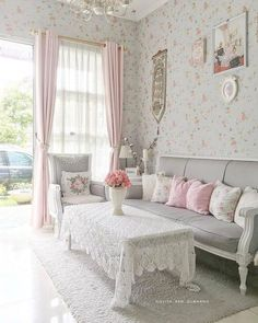 Romantic Living Room, Cozy Living Rooms, Home Living Room, Interior Design Living Room, Living Room Designs, Living Room Decor, Bedroom Romantic, Design Living Room Wallpaper, New Bedroom Design