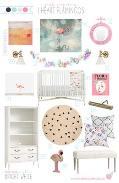 I Heart Flamingos || Nursery Style Board on California Peach | Interior Design, Fine Art, Inspiration || Nursery, decor, style board, baby room, baby, room, design, interior, interiors, interior design, home decor, pink, flowers, flamingo, girl, brass, navy, british bouquet, mid century, pottery barn,