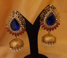 Designer Jewellery : Colorful stone antique jhumkas - South India Jewels
