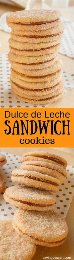 Dulce de Leche Sandwich Cookies a sweet, soft cookie coated with the warm flavors of cinnamon and cardamom then filled with a silky rich caramel. Easy Cookie Recipes, Baking Recipes, Dessert Recipes, Galletas Cookies, Sugar Cookies, Cinnamon Cookies, Caramel Cookies, Just Desserts, Delicious Desserts