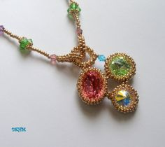 Beaded pendant with swarovski crystals OOAK by DKHM on Etsy, $84.00