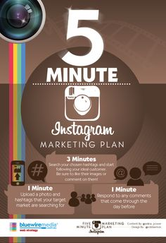 Instagram Infographic - 5 minute marketing plan for Instagram #Infographic