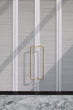 Extra long brass door handles by Fearon Hay Architects. Photo by Simon Wilson.