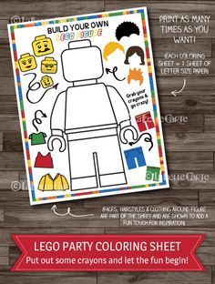 Lego Party Games, Lego Birthday Party Activity, Boys Party, Lego Coloring Sheet, Party Supplies - Digital files: INSTANT DOWNLOAD by LaBelleStudio on Etsy https://www.etsy.com/listing/186394679/lego-party-games-lego-birthday-party